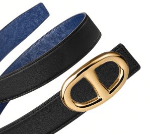 Hermes Black Swift and Sapphire Blue Epsom Gold Chaine d'Ancre Buckle Belt