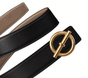 Hermes Black Swift and Taupe Epsom Glenan Belt