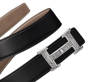 Hermes Black Swift and Taupe Epsom Touareg Belt