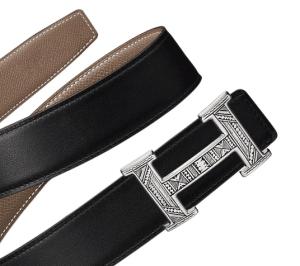 Hermes Black Swift and Taupe Epsom Touareg Belt
