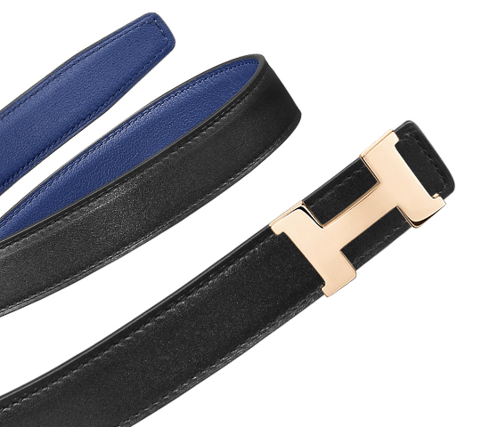designer hermes belts vosf  Hermes Black Tadelakt and Sapphire Blue Swift Mini Constance Belt