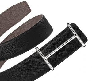 Hermes Black/Tin Grey Epsom Silver Idem Belt