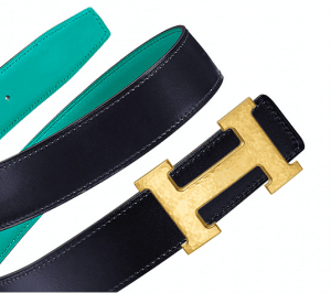 Hermes Bleu Indigo Box and Bleu Paon Swift Hammered Finish Gold H Buckle Belt