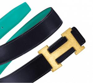 Hermes Bleu Indigo Box and Bleu Paon Swift Hammered Finish Gold H Buckle Belt