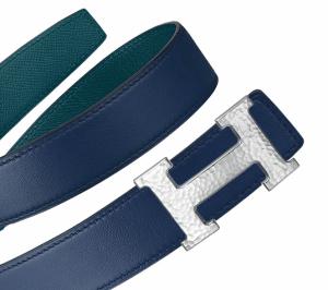Hermes Bleu Saphir Swift and Colvert Epsom Hammered Finish Silver H Buckle Belt