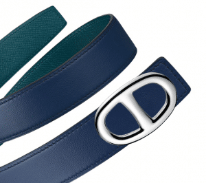Hermes Bleu Saphir Swift and Colvert Epsom Silver Chaine d'Ancre Buckle Belt