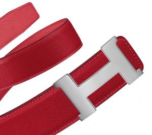Hermes Casaque Red/Jaipur Pink Epsom Silver Constance 2 Belt