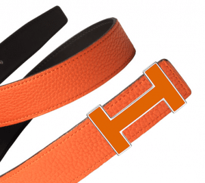 Hermes Chocolate Brown Box and Orange Togo Lacquered Finish Quizz Belt