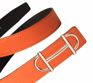 Hermes Chocolate Brown Box and Orange Togo Rose Gold Gamma 32 Belt