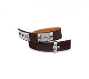 Hermes Chocolate Brown Calfskin Collier de Chien Belt