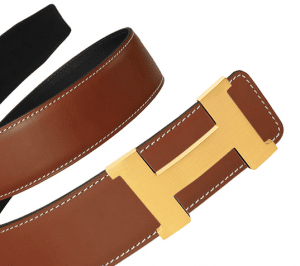 Hermes Deer Brown Epsom and Black Chamonix Gold Constance 2 Belt