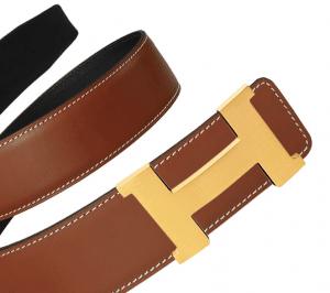 Hermes Deer Brown Epsom and Black Chamonix Gold Constance 2 Belt