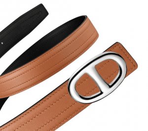 Hermes Gold Swift and Black Chamonix Silver Chaine d'Ancre Buckle Belt