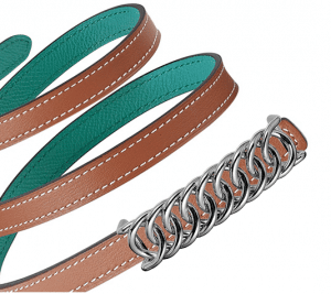 Hermes Gold Swift and Bleu Paon Epsom Silver Buckle Kara Belt
