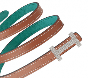 Hermes Gold Swift and Bleu Paon Epsom with White Gold Buckle and Diamonds Focus Belt