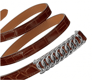 Hermes Honey Porosus Crocodile Kara Belt
