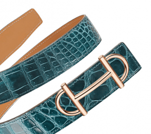 Hermes Mallard Blue Porosus Crocodile Rose Gold Gamma 32 Belt