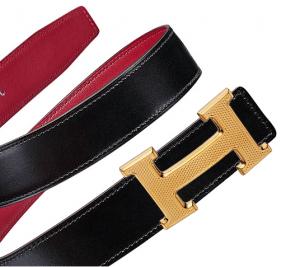 Hermes Noir Box and Rouge Grenade Swift Guillochee Finish H Buckle Belt