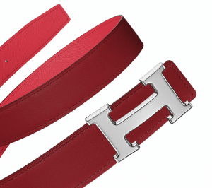 Hermes Red Swift and Casaque Red Epsom Metal Finish Silver H Buckle Belt