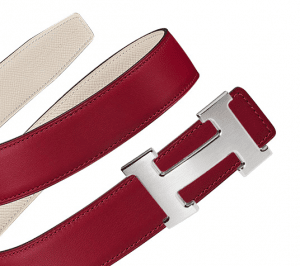 Hermes Rouge Grenat Swift and Craie Epsom Brushed Finish Silver H Buckle Belt