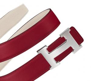 Hermes Rouge Grenat Swift and Craie Epsom Brushed Finish Silver H Buckle Belt