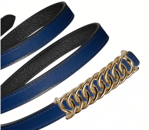 Hermes Sapphire Blue Swift and Black Epsom Gold Buckle Kara Belt