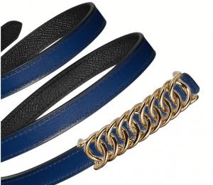 Hermes Sapphire Blue Swift and Black Epsom Gold Buckle Kara Belt