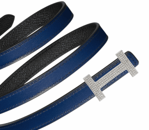 Hermes Sapphire Blue Swift and Black Epsom with White Gold Buckle and Diamonds Focus Belt