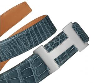 Hermes Storm Blue Porosus Crocodile Silver Constance 2 Belt