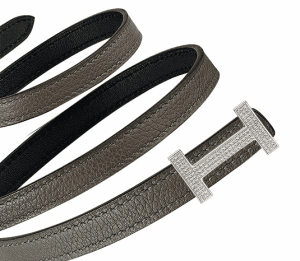 Hermes Tin Grey Evercolor and Black Swift with White Gold Buckle and Diamonds Focus Belt