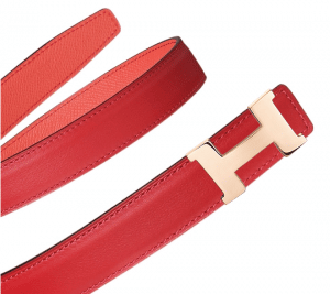 Hermes Vermilion Swift and Pink Epsom Mini Constance Belt