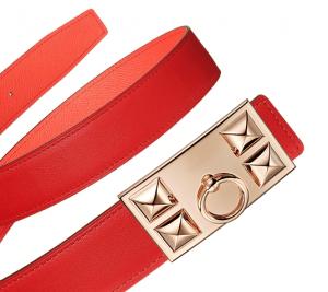 Hermes Vermilion Swift and Pink Epsom Rose Gold Collier de Chien Buckle Belt