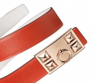 Hermes White Swift and Fire Orange Epsom Rose Gold Collier de Chien Buckle Belt