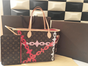 Louis Vuitton Poppy/Rose Ballerine Monogram Bay Neverfull MM Bag