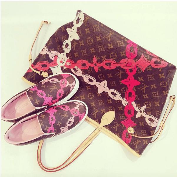 be12586f3e0c Louis Vuitton Poppy Rose Ballerine Monogram Bay Neverfull MM Bag and Slip-On  Sneakers. IG  irisruii