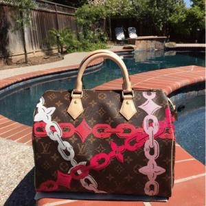 Louis Vuitton Poppy/Rose Ballerine Monogram Bay Speedy 30 Bag