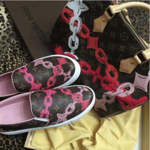 Louis Vuitton Poppy/Rose Ballerine Monogram Bay Speedy 30 Bag and Slip-On Sneakers