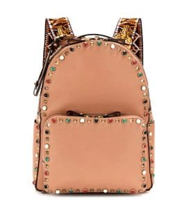 Valentino Beige Multicolor Stones Rockstud Rolling Embellished Backpack Bag