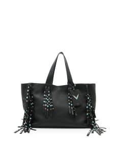 Valentino Black Rockstud Rolling C-Rockee Fringe Large Tote Bag
