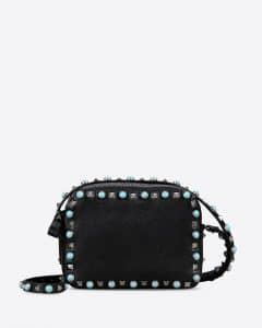 Valentino Black Rockstud Rolling Camera Bag