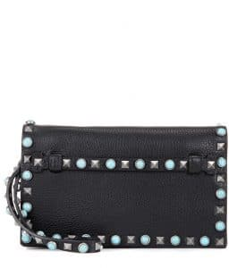 Valentino Black Rockstud Rolling Clutch Bag