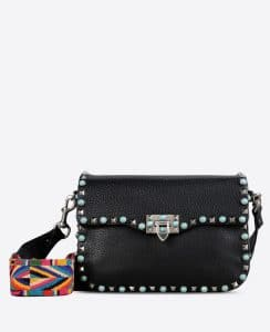 Valentino Black Rockstud Rolling Cross Body Bag