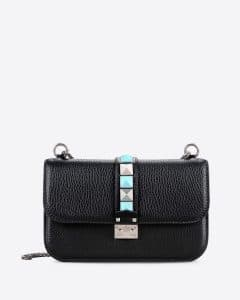 Valentino Black Rockstud Rolling Lock Shoulder Bag