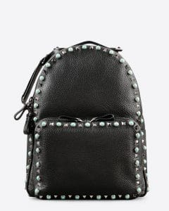 Valentino Black Rockstud Rolling Medium Backpack Bag