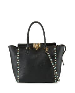 Valentino Black Rockstud Rolling Medium Shopper Tote Bag