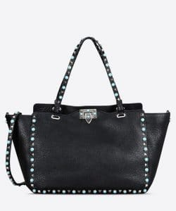Valentino Black Rockstud Rolling Medium Tote Bag