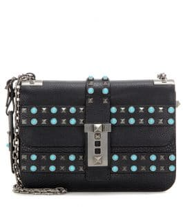 Valentino Black Rockstud Rolling Shoulder Bag