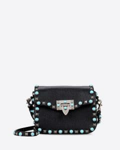 Valentino Black Rockstud Rolling Small Cross Body Bag