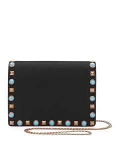 Valentino Black Rockstud Rolling Wallet On Chain Bag