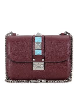 Valentino Burgundy Rockstud Rolling Lock Small Shoulder Bag